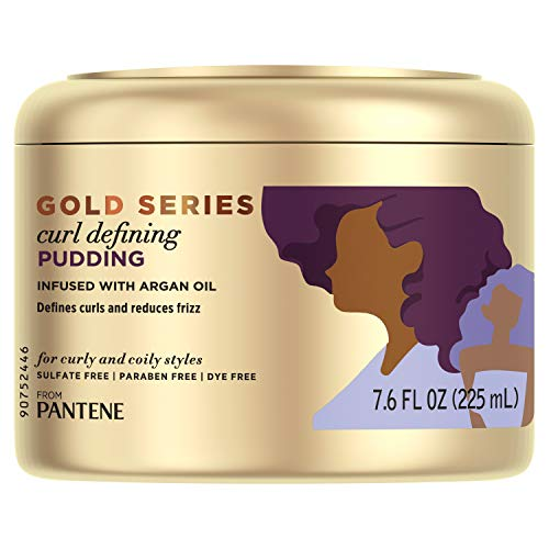Pantene, Hair Cream Treatment, Sulfate Free Curl Defining Pudding, Pro-V Gold Series, for Natural and Curly Textured Hair, 7.6 fl oz
