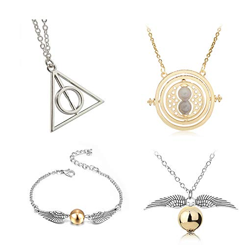 4 Pcs HP Inspired Necklace Set Time Turner Deathly Hallows Golden Snitch for HP Fans Decorations