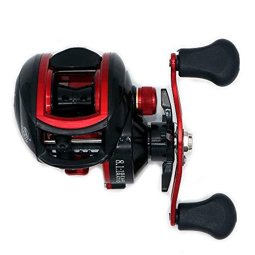 NUZAMAS Mulinelli da Pesca Mulinello Baitcaster 8.1: 1 ad Alta velocit con Sistema di frenatura Regolabile Cuscinetti a Sfera Mulinello da Pesca per baitcasting per Mancini