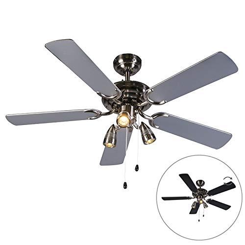 QAZQA Ventilatori da soffitto mistral - Moderno - Legno,Acciaio - Nero/Grigio - Tondo Max. 3 x 50