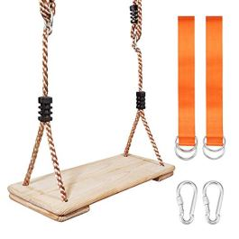 "MONT PLEASANT Wooden Tree Swing Seat Hanging Wood Swings Chair 17.1″x6.8″x1.1″ Indoor Outdoor Backyard Sets with Adjustable 71"" PP Rope & Tree Straps Garden Play for Kids Children"