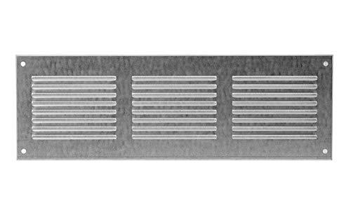 Griglia areazione 300x100mm in zincato , rettangolare, aerazione con protezione antinsetti in rete