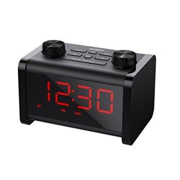 AUKEY Radio Réveil Bluetooth Enceinte avec Minuterie de Sommeil, Fonction Snooze, et Affichage LCD à 4 Luminosités Réglables, Haut-Parleur Bluetooth pour Echo Dot, iPhone, iPad, Samsung, Android
