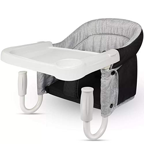 TOONOON Fast Table Chair, Hook On Chair with Dining Tray, Fold-Flat Storage and Tight Fixing Clip on Table High Chair for Baby, Safe and High Load Design Child Table Chair for Home and Travel