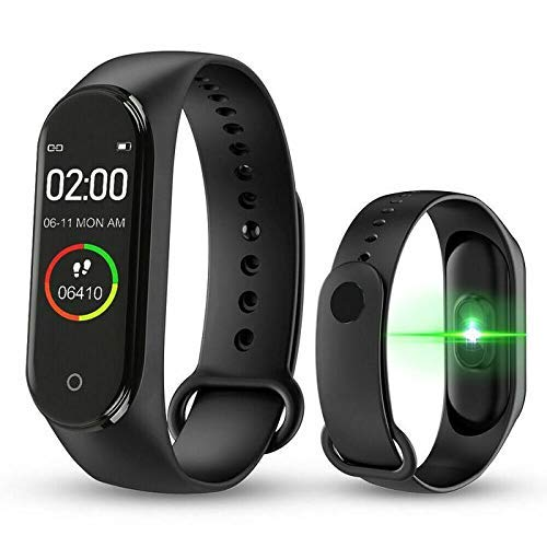 TrueFit M4 Fitness Smart Band Bracelet M-4 2021 Health & Sports Smart Watch Fitness Activity Tracker Watch with Heart Rate and Blood Pressure Monitor, Exercise Band, Step Calorie Counter, Waterproof for Unisex{Black}
