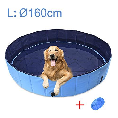 AMIGOB Hundepool Doggy Pool Swimmingpool Badewanne Pool Hundepool Ø160*30cm Schwimmbecken Planschbecken mit Haustier Badebürste
