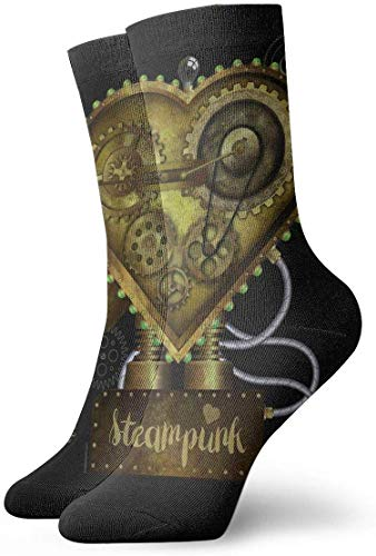 Steampunk Heart Classic Crew Socks Flat Knit Casual Athletic Stoking 30CM Soft