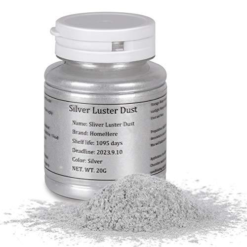 HomeHere Silver Luster Dust Edible Cake Silver Powder Granulated sugar, 20Grams