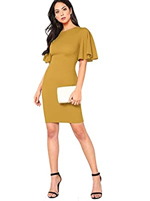 "Fabric has a bit elasticity, dress runs small, please select one or two size up Round neck, ruffle and short sleeve, solid color, knee length, back zip, bodycon dress Fit for everyday dressing Model: Height:171cm/5'7"", Bust:81cm/32"", Waist:61cm/24"", ..."