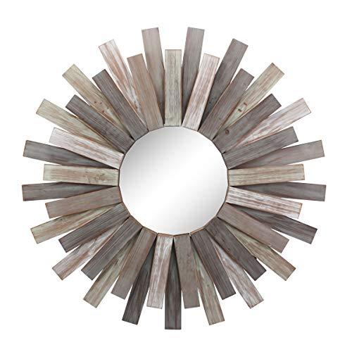 Stonebriar Large Round 32' Wooden Sunburst Hanging Wall Mirror...
