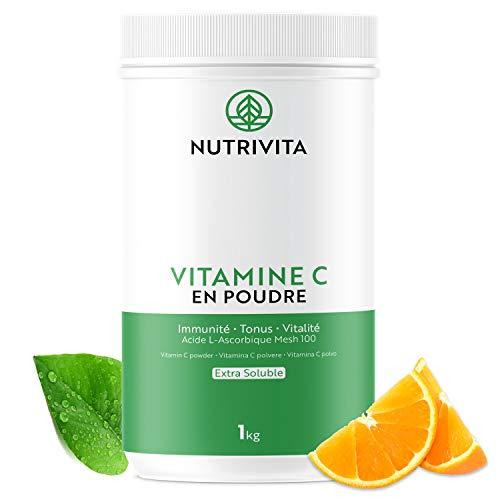 Vitamine C Poudre 1kg | 100% Acide L-Ascorbique | Pure à 99,9% | Poudre Extra Soluble Mesh 100 | Cuillère doseuse offerte | Nutrivita
