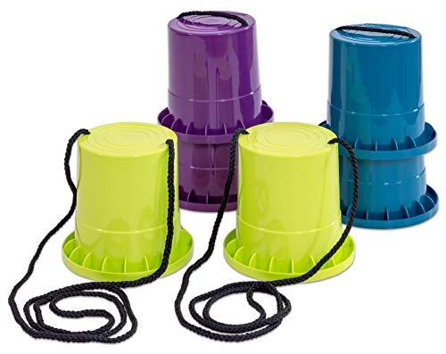 Betzold Sport Laufstelzen-Set - 3 Paar in lila - Limette - Petrol - Kinder-Topfstelzen Outdoor-Spiele Becherstelzen Kindergeburtstag Stelzen