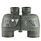 AOMEKIE Marine Binoculars 7X50 Waterproof Fogproof Military Binocular for Adults with Rangefinder Compass BAK4 Prism FMC Lens for Floating Boating and Hunting with Carry Bag and Strap