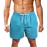 LK LEKUNI Bañador Hombre Pantalones de Playa con Forro con Cordón Traje de Baño Pantalón Ceñido_Cielo Azul e_3XL