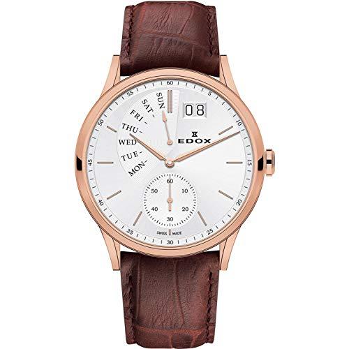 Edox Les Vauberts Herren-Armbanduhr 42mm Armband Leder Braun Gehäuse Edelstahl Batterie 34500 37R AIR