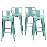 Metal Bar Stools Set of 4 Industrial Counter Bar Stool with Backs Bistro Cafe Barstools(26 inch, Distressed Blue-Green)