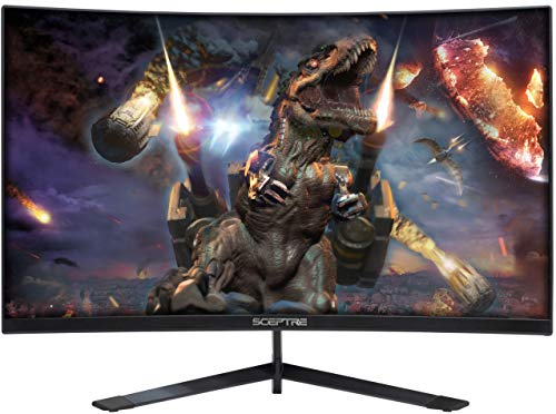 Sceptre 24-Inch Curved 144Hz Gaming LED Monitor Edge-Less AMD FreeSync DisplayPort HDMI, Machine Black (C248B-144RN)