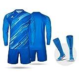 KELME Men Goalkeeper Padded Jersey and Shorts, Youth Soccer Goalie Long Sleeve Uniform, Adult Keeper Kit Shirts Pants Socks Blue M