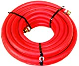 Water Hose Continental ContiTech 1/2' x 75' RED RUBBER Industrial 200psi with Brass Fittings - Heavy Duty - USA