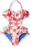 Jessica Simpson Girls' Big One-Piece Swimsuit Bathing Suit, Pink Ruffle Front Halter, 7
