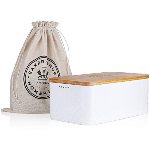 LARS NYSØM Brotkasten Crumb I Brotdose in weiß mit inkludiertem Brotsack aus Leinen für langanhaltende Frische I Brotbox mit hochwertigem Bambusdeckel verwendbar als Schneidebrett I 33x19x12 cm