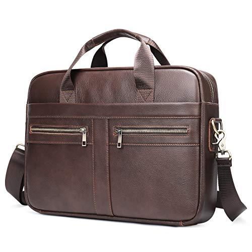 VINBAGGE Genuine Leather Briefcase, 14 Inch Laptop Shoulder Bag, Briefcases Briefcases Business Messenger Bag, Brown