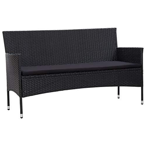 vidaXL Gartensofa 3-Sitzer mit Auflagen Loungesofa Rattansofa Couch Gartenmöbel Sofa Gartenbank Sitzbank Bank Lounge Schwarz Poly Rattan