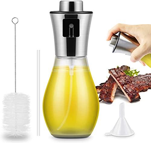 Dispensador de pulverizador de Aceite, Tapones y vertedores para aceite, Premium 304 Acero Inoxidable Botella de Vidrio 200 ML para cocinar/Ensalada/Hornear Pan/BBQ/Cocina