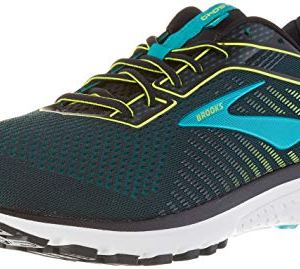 Brooks Mens Ghost 12 Running Shoe – Black/Lime/Blue Grass – B – 10.5