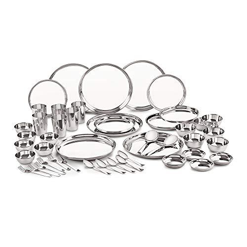 Neelam Stainless Steel 24 Gauge Premium Dinner Set, 50 pcs, Silver
