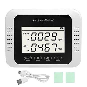 WNSC Détecteur de Co2, température de Test 0-50 0 Moniteur de qualité de l'air 0-90% HR Test d'humidité Surveillance en Temps réel alimenté par USB pour Le Bureau pour la Maison