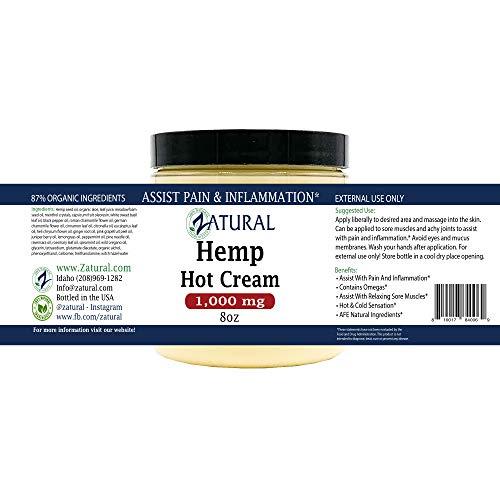 Hemp Hot Cream-Hemp Oil-Organic Hot Cream-Anti Cellulite-Muscle Cream-Pain Support (1,000mg) 8
