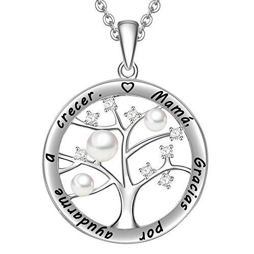 LOVORDS Collar Mujer Grabado Plata de Ley 925 Colgante Árbol de la Vida Familiar Perla Cultivada Blanca de Agua Dulce 3-4mm Regalo Madre Mamá