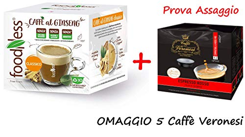Foodness - 50 capsule caffè al ginseng compatibili lavazza a modo mio senza lattosio e glutine(5 box da 10 capsule)