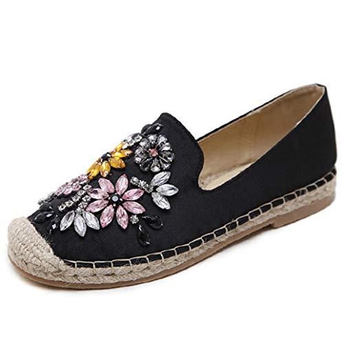 Mujeres Alpargatas Moda Rhinestone Cristal Flores Cáñamo Pescador Low Top Slip On Mocasines Mujer Ocio Zapatos de Lona