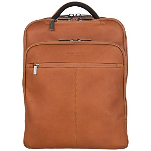 Kenneth Cole Reaction Back-Stage Access Slim Colombian Leather TSA Checkpoint-Friendly 16' Laptop & Tablet Travel Business Backpack, Cognac