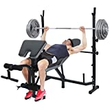 Standard Weight Bench, Multifunctional Workout Station Adjustable Dumbbell Bench Weightlifting Bed with Preacher Curl Leg Developer and Crunch Handle (Black)【US in Stock】