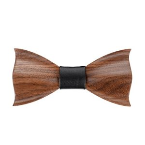 Mr.Van Mens Bow Ties Natural Walnut Wood Handcrafted Wooden Adjustable Bowties for Tuxedo Wedding Party