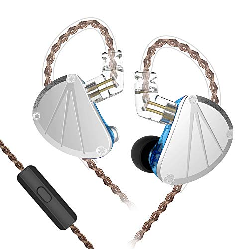 KB Ear KB10 5BA in Ear Earphone Pure Balanced Armature in Ear Monitor Stage IEM with Detachable 2 Pin Cable for Singer (with Microphone, Silver Blue)