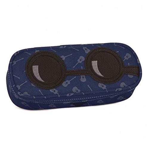 LEMA-NET Astuccio Ovale Invicta Yap Lip Pencil Bag 306021712/blu Porta Penne Seven Blu con Chitarre faccine 23x10x5,5cm