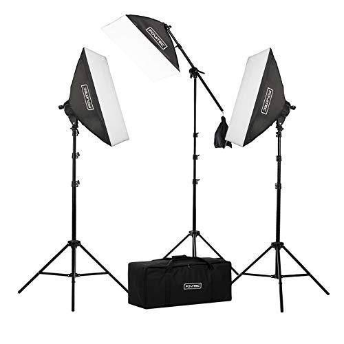 Fovitec - 3-Light 2500W Fluorescent Lighting Kit for Photo & Video...