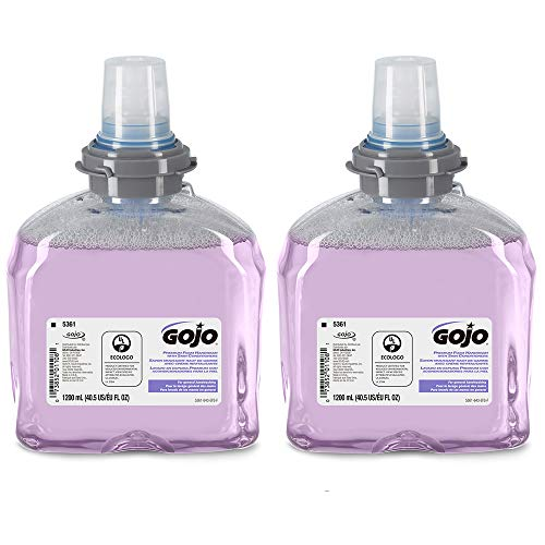 GOJO Premium Foam Handwash with Skin Conditioners, Cranberry Scent, EcoLogo Certified, 1200 mL Foam Hand Soap Refill for GOJO TFX Touch-Free Dispenser (Pack of 2) - 5361-02