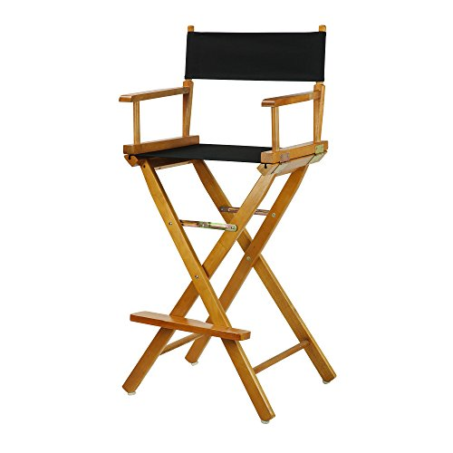 Casual Home 30' Director's Chair Honey Oak Frame-with Black Canvas, Bar Height