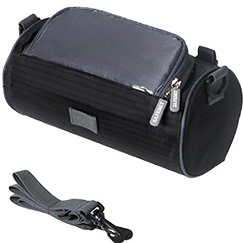 TINTON LIFE Waterproof Bicycle Handlebar Bag with Transparent Pouch and Adjustable Strap High-Capacity Cycling Front Pack (Black)