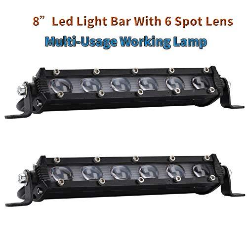 Coppia 8' 60W 6000LM LED Light Bar COB LED Bar Anti Fog Bulbo da lavoro Led Bar 4x4 LED Lens Faro...