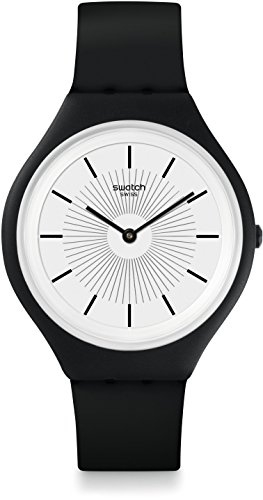Swatch Unisex Erwachsene Digital Quarz Uhr mit Silikon Armband SVUB100