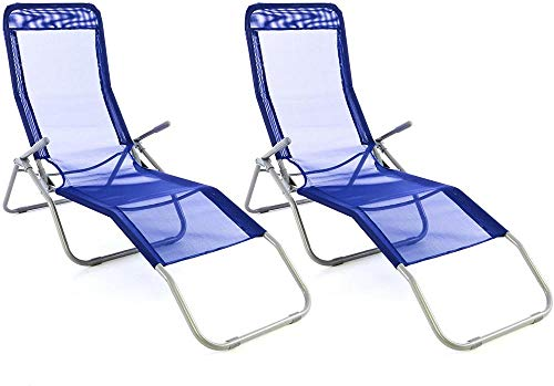 DFGWS Gartenliege 2er Set Bäderliege Textilene 5kg Armlehne Stahlrahmen Relaxliege klappbar Kippliege bis 100 kg belastbar wetterfest pflegeleicht - 160 x 48,5 x 100 cm - Blau