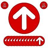 12 Pièces Flèches adhésives pour Sens de Circulation, TAOPE Panneau de Sol de Distance Sociale de Sécurité Rond, Autocollants de Décalque de Sol, 31 CM Signalisation - Marquage au Sol Antidérapant