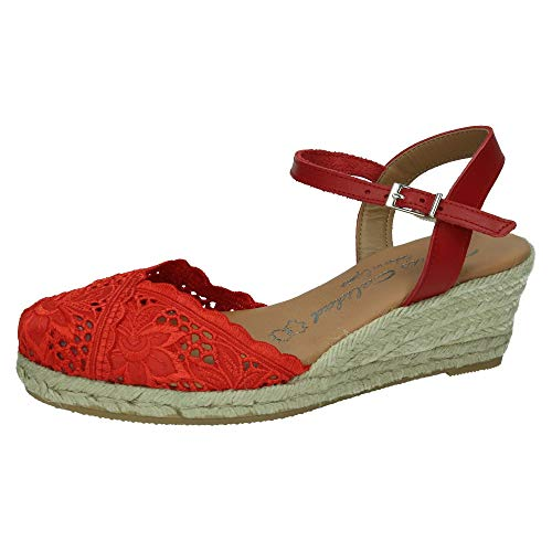 TORRES 5004 Zapatilla DE Encaje Mujer Alpargatas Rojo 38