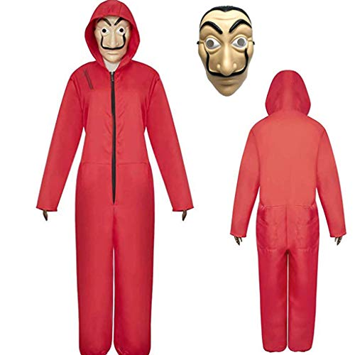 Amycute 2Pcs Disfraz y Máscara, Disfraz de Ladrón Salvador Dalí Traje de Cosplay para Carnaval Navidad Halloween Festival de Musica,Rojo,L